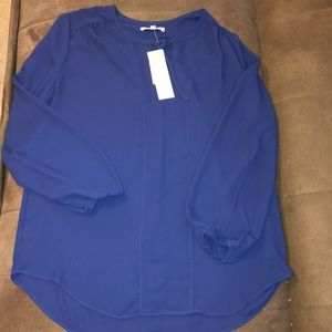 Joan Vass dark blue or royal blue blouse